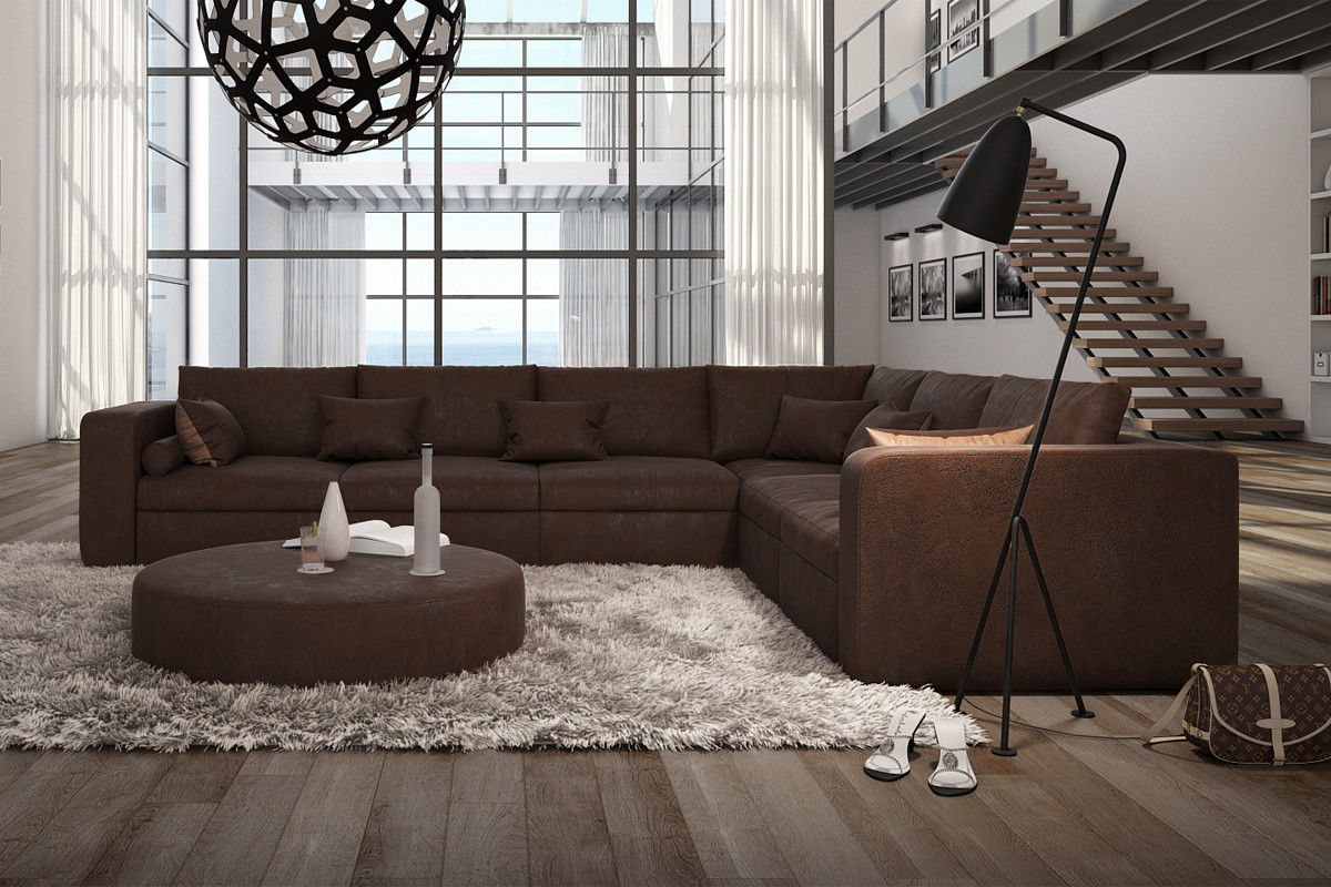 B WARE Sofa Couch Wohnlandschaft L Form Big Sofa braun 320