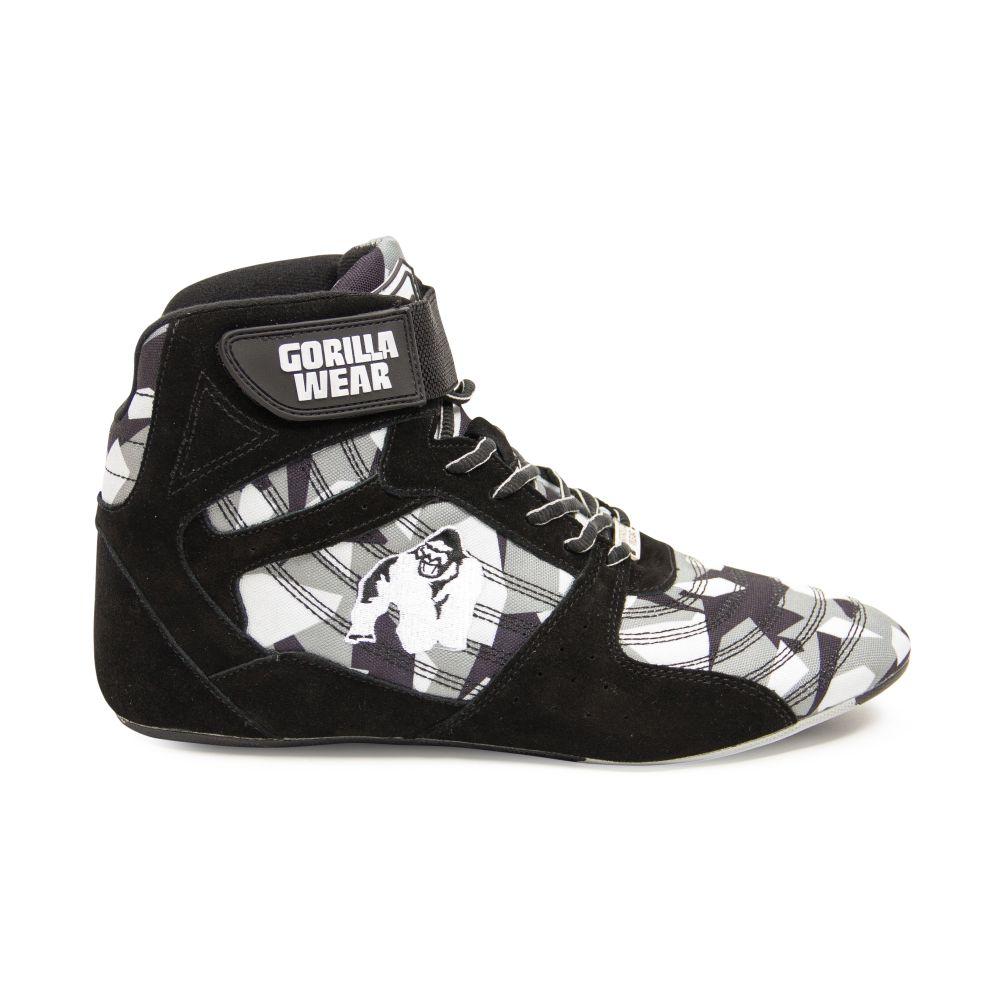 scarpe di separazione 98044 ca870 Dettagli su Gorilla wear Perry High Tops pro Black/Grigio Camo Bodybuilding  Fitness Scarpe