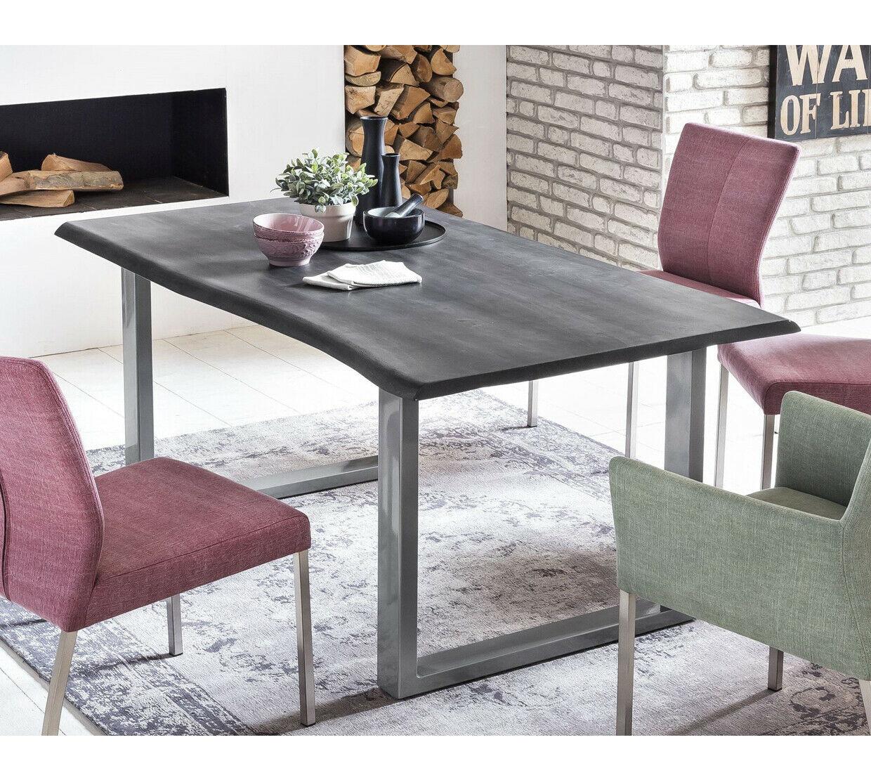 Esstisch Baumkante massiv Akazie grau U Gestell silber Baumtisch EVA NEU   eBay