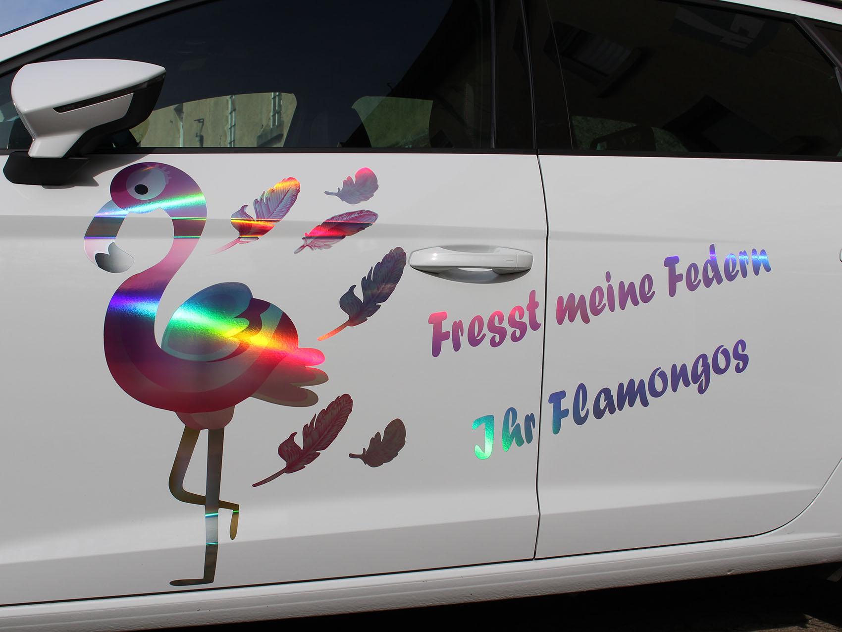 flamingo dekor set hologramm premium folie aufkleber. Black Bedroom Furniture Sets. Home Design Ideas